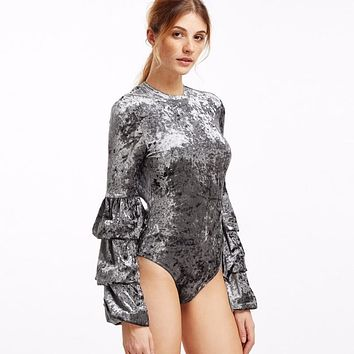 Long Sleeve Velvet Bodysuit