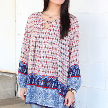 Border Print Keyhole Trapeze Tunic {Blush Mix}