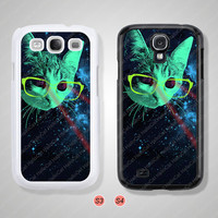 Samsung Galaxy S3 case, Samsung Galaxy S4 case, Cover Skin, laser cat, Phone cases, Phone Covers - S0887