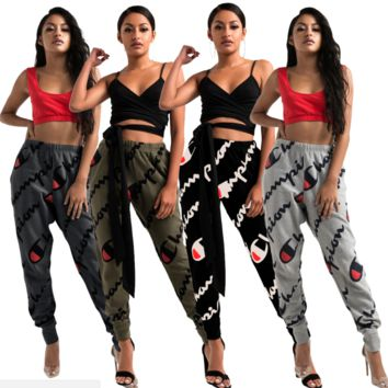 Champion New fashion print sports loose casual pants four color