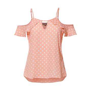 LE3NO Womens Casual Off Shoulder Polka Dot Ruffled Short Sleeve Keyhole Blouse Top