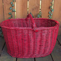 Big Red Basket, Large Wicker Basket, Painted Basket, Large Storage Container, Vintage Basket. Wedding Basket, Basket with Carry Handle
