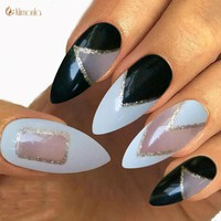 New Stiletto Nails Tip False Nails With Glue Manicure Acrylic Artificial Fake Nails DIY Pre-Designs 12 Style  For Your Choose