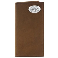 Zep-Pro Mississippi State Bulldogs Concho Crazy Horse Leather Secretary Wallet (Brown)