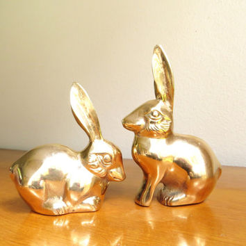 Vintage Brass Rabbit Figurines, Gold Bunny Statues, Two Gold Rabbits, Brass Animal, Pair, Paperweight