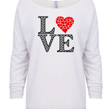 Chevron Love 3/4 Sleeve T-Shirt - Women's Valentine's Day Shirt - Love Shirt
