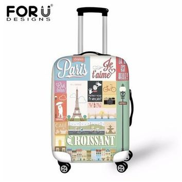 FORUDESIGNS Eiffel Tower/Retro Printed Luggage Protective Cover Elastic Anti-theft Covers for Suitcase Zipper Closure Convenient