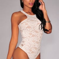 White Nude Floral Lace Racer Back Bodysuit