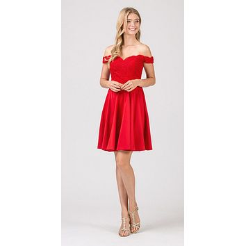 Off-Shoulder Short Homecoming Party Dress Red