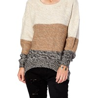 High Low Ombre Color Block Sweater