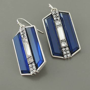 Chloe's Vintage Art Deco Platinum Silver - Sapphire Blue - Crystal Bridal Earrings