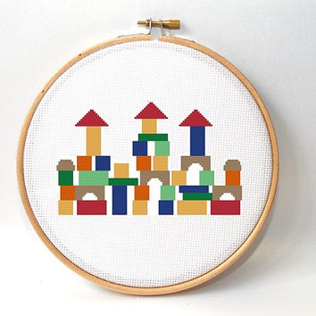 Counted Cross stitch pattern - Nursery Baby Crossstitch Pattern - Crossstitch Pattern - kids room decor - wall art pattern- colorful pattern