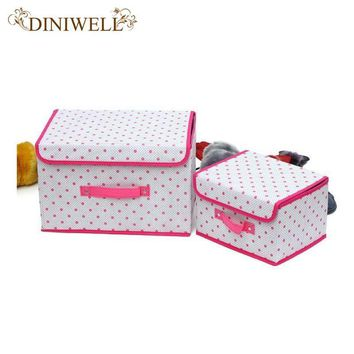 DINIWELL 1 PCS Home Zakka Tidy Storage Fold Box Handle Closet Bin For Shoe Laundry Cl