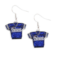 New England Glittery Jersey Dangle Earring
