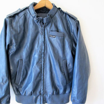Vintage 1980s Blue Vegan Leather Members Only Style Bomber Jacket Sz M