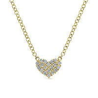 14K Yellow Gold Eternal Love Diamond Heart Necklace