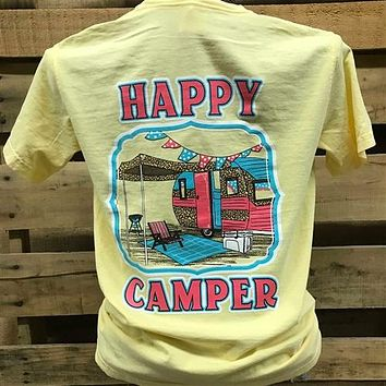 Southern Chics Happy Camper Leopard Comfort Colors Bright T Shirt