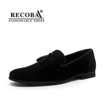 Brand Men casual loafers plus size 11 black velvet suede leather tassel penny loafers