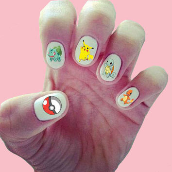 Pokemon Nail Decals/ Nail Wraps/ Nail Designs/ Water-Slide Nail Decals/ Pikachu/ Squirtel/ Bulbasaur/ Charmander/Pokeball