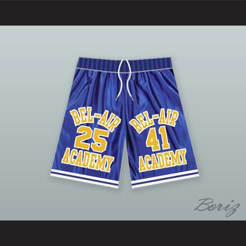 Carlton Banks 25/ Will Smith 41 Bel-Air Academy Blue Basketball Shorts