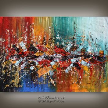 "Painting Colorful 70"" Abstract Oil Painting on Canvas by Nandita, Original Modern Painting gold Luxury style wall art decor fast shipping"