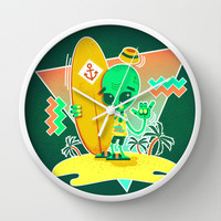 Alien Surfer Nineties Pattern Wall Clock by chobopop