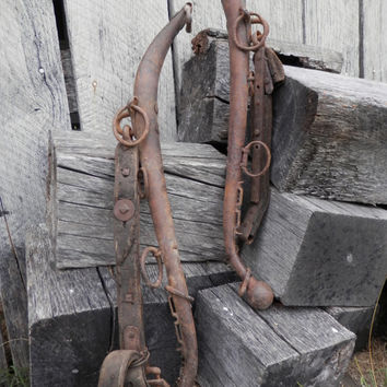 Vintage Horse Hames Iron with Leather Straps - Old Horse Tack Rustic Industrial Farm Barn Home Decor Wall Decor Country Weathered