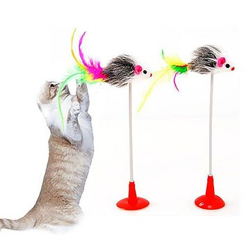 Pet Cat Toy Feather False Mouse Bottom Sucker Cat Kitten Playing Toy