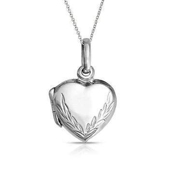 Engraved Leaf Heart Shaped Locket Necklace That Holds Pictures Pendant