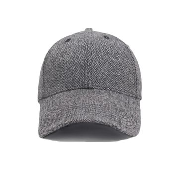 Warm Wool Baseball Cap Men Bone Snap-back Winter Tweed Hats