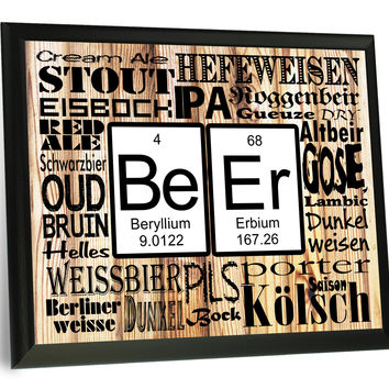 Beer Chemistry and Varieties Typography Wall Plaque