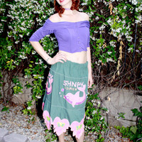 Pink Dolphin & Butterfly Skirt - Weird Vintage Handmade Cotton Maxi Skirt w/ Embroidered Dolphins, Flowers, and Butterflies