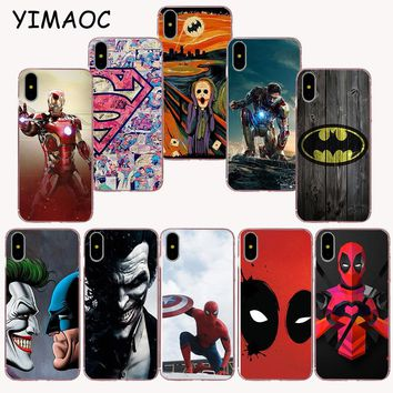YIMAOC 146z Deadpool and  batman hero Soft TPU Silicone Case for iPhone X r s Xr Xs Max 8 7 6S 6 Plus 5 5s SE