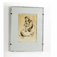 Woman bread maker monochrome black ink drawing wall art in a shabby distressed antique white frame.