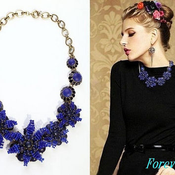 JCrew Style Flower Gem Inspired Necklace Red Flower Necklac Statement Necklace Wedding Party Jewelry