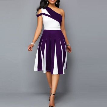 Plus-Size One Shoulder Patchwork Party Dresses