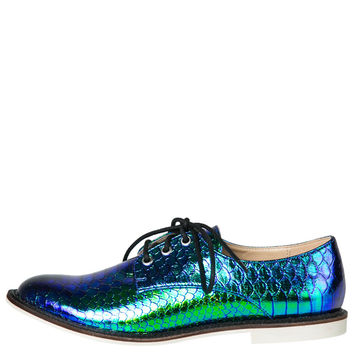 Luichiny Lucky Girl Oxfords (Blue Iridescent)