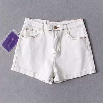 Hot Shorts CWLSP Summer White Patchwork Women's Vintage High Waist Streetwear Short Jeans for Female Denim  femme ete 2018 QL3922AT_43_3