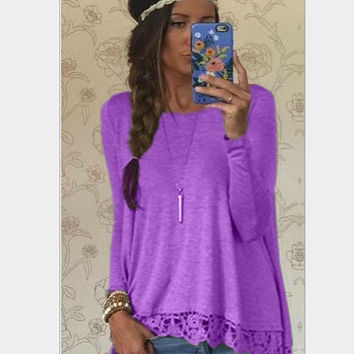 Fashion Solid color lace T-shirt-4