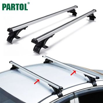 "Partol Universal 47"" Car Roof Rack Cross Bars Crossbars Aluminum 68 kg/150LBS Cargo Basket Carrier Bike Rack Top Fit Normal Roof"