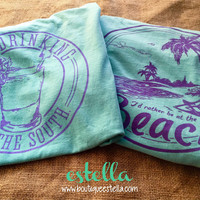 Mint Julep - Day Drinking in the South Tee (Mint/Violet)