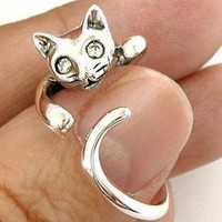 HANGING CAT CUTE LOVELY STERLING 925 SILVER RING Sz 4