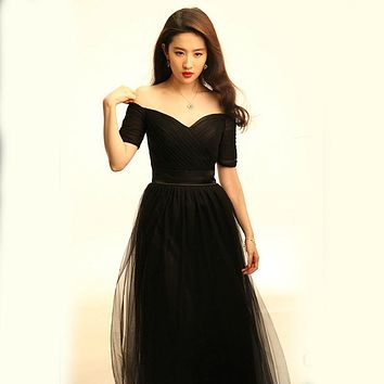 Black Tulle Long Bridesmaid Dresses 2017 New Sweetheart Half Sleeve Fashion Party Dress Under 50$