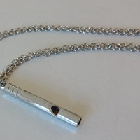Whistle Necklace In Bright Silver, Hypoallergenic Chain
