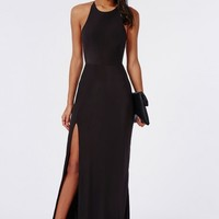 Missguided - Slinky Side Split Maxi Dress Black