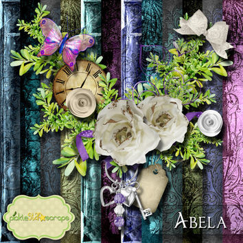 Scrapping - Digital Scrapbooking - Abela - Digital Scrapbook Kit - Printable Backgrounds - 12x12 inch Papers - FREE Quickpage Layout