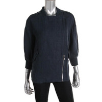 Vince Camuto Womens Linen Ribbed Trim Jacket