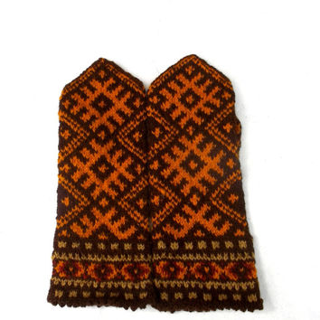 hand knitted wool mittens, knit latvian mittens, knitting colorful brown orange winter gloves, handmade ethnic hand warmers, patterned mitts