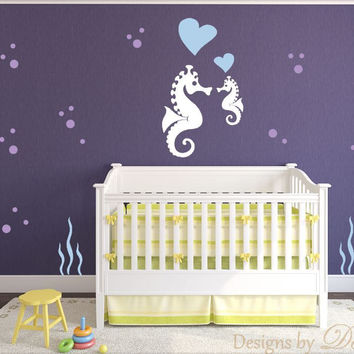 Children's Wall Decal Sea Creatures with Seahorse and Baby Seahorse