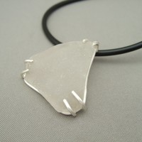 Sea Glass and Sterling Silver Triangle Claw Set Pendant | The Silver Forge Handcrafted Jewellery